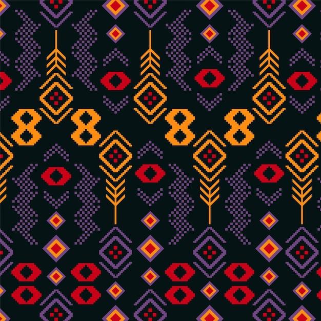 Diamonds shapes songket pattern Premium Vector