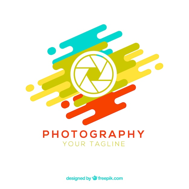 Diaphragm photography logo in colors Free Vector