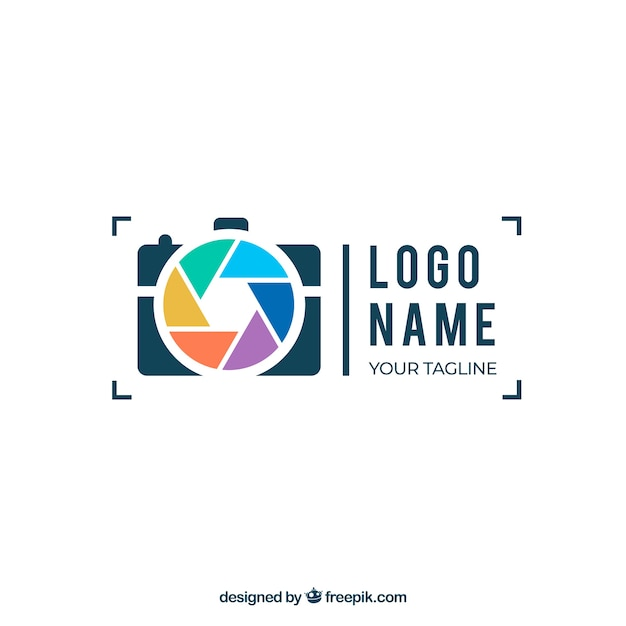Diaphragm photography logo in flat style Free Vector