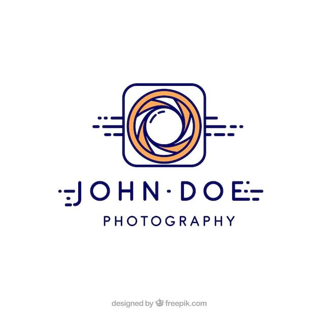 Логотип фотографии диафрагмы в плоском стиле Бесплатные векторы