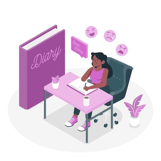 Illustrazione del concetto di diario Vettore gratuito