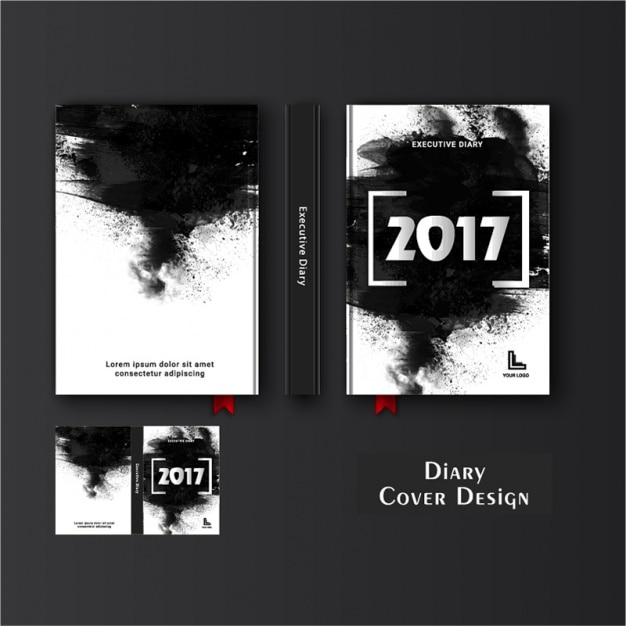 Diary Cover Template With Black Stains Premium Vector