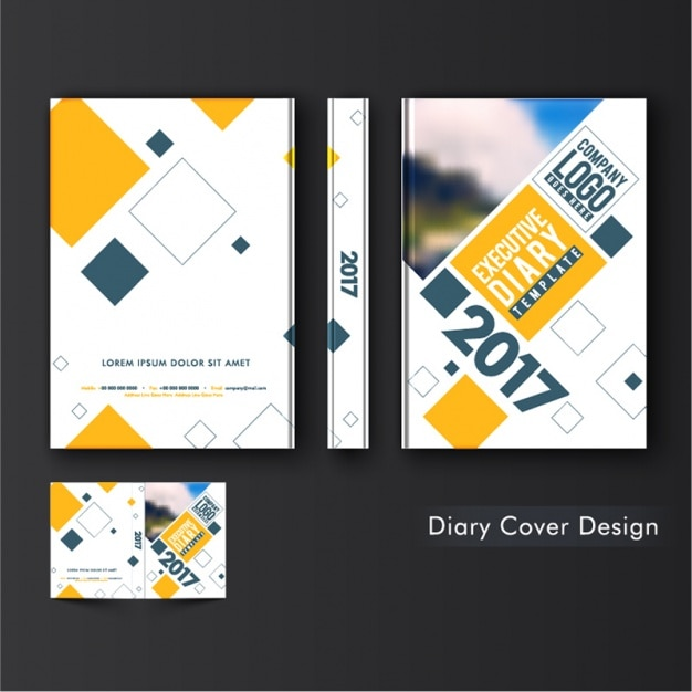 Diary Cover Template With Geometric Shapes Premium Vector