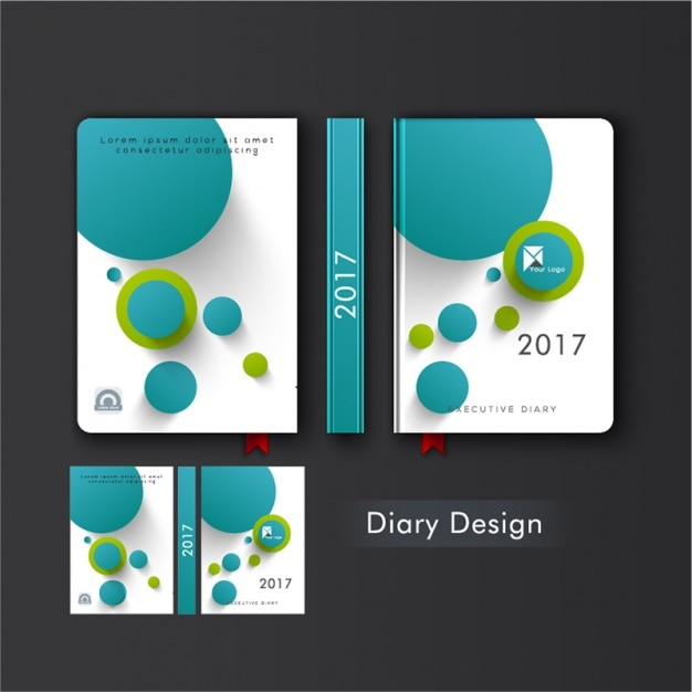 Diary Cover With Blue And Green Circles Vector Premium