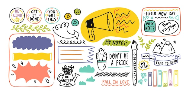 Diary cute note elements. hand drawn doodles bullet journal banners Premium Vector