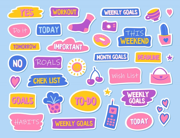 Diary and planner flat stickers set Free Vector