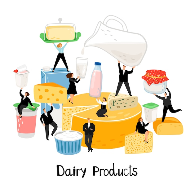 Diary products illustration Premium Vector