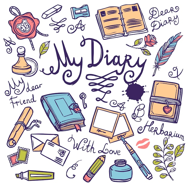 Diary writing instrument set Free Vector