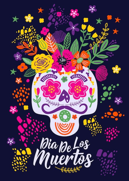 Dias de los muertos. flowers traditional mexican frame with floral letters on dark Premium Vector