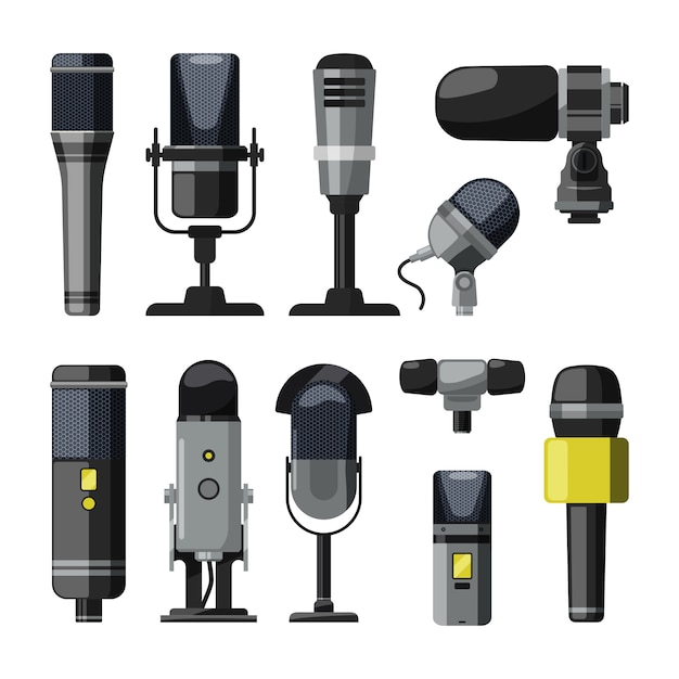 Dictaphone, microphone and other professional tools for reporters and speakers Premium Vector
