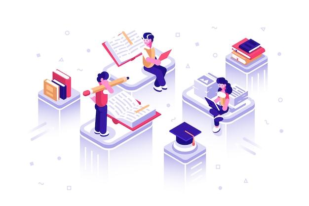 Словарь, библиотека энциклопедии или веб-архив. Premium векторы