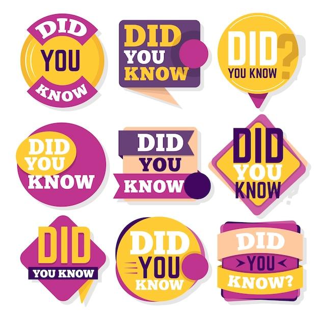 Sapevi che collezione di badge Vettore gratuito