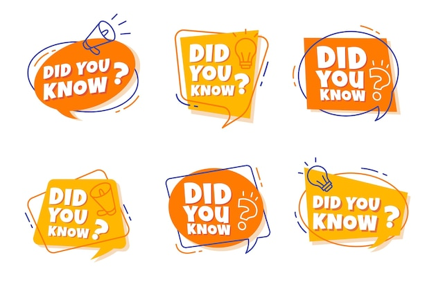 Did you know badges collection Premium Vector