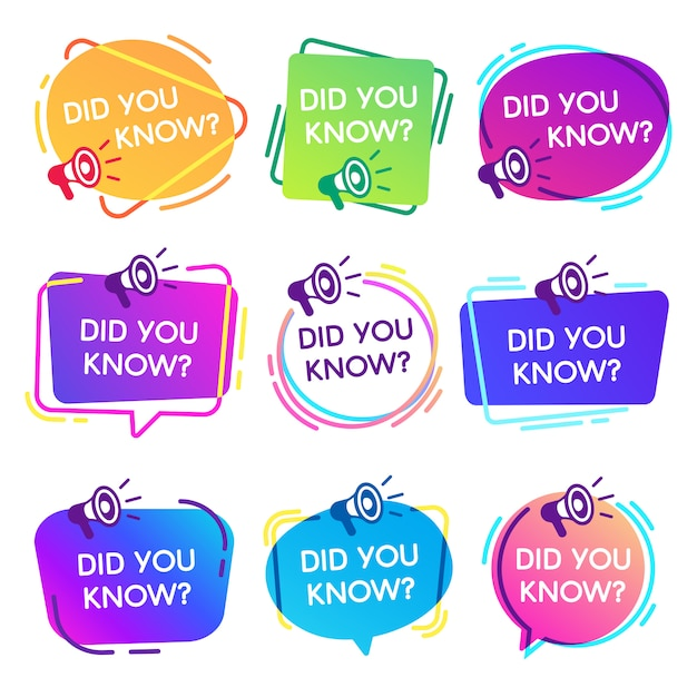 Did you know labels. interesting facts speech bubbles, knowledge base label and social media faq banner isolated  badges set Premium Vector