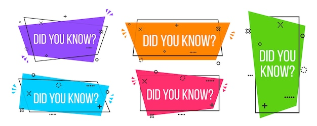 Did you know, question mark labels Premium Vector