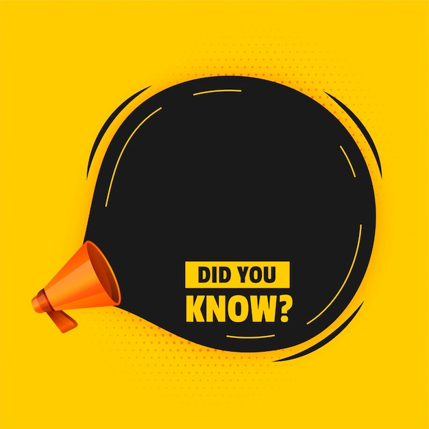 Did you know with megaphone and text space Free Vector