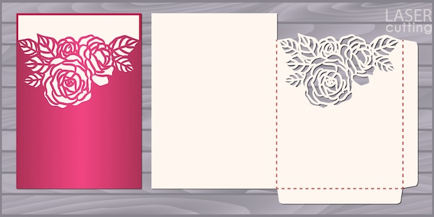 Die laser cut wedding card  template. invitation pocket envelope with roses pattern. wedding lace in