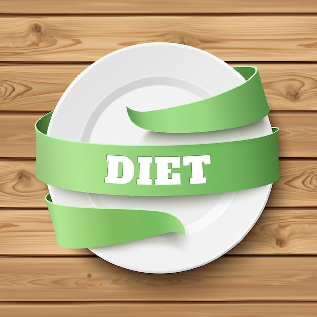 Диета, концептуальный фон. пустая тарелка с зеленой лентой вокруг, на деревянном столе. деревянные доски. иллюстрация. Premium векторы