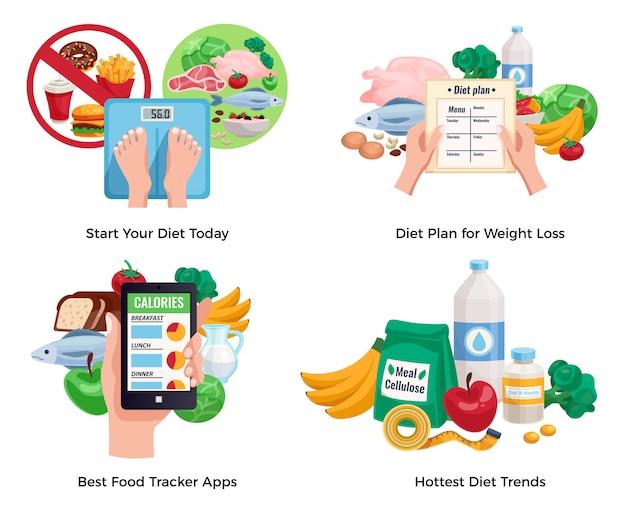 가장 인기있는 다이어트 트렌드와 최고의 음식 추적으로 설정된 체중 감량 구성을위한 다이어트 무료 벡터