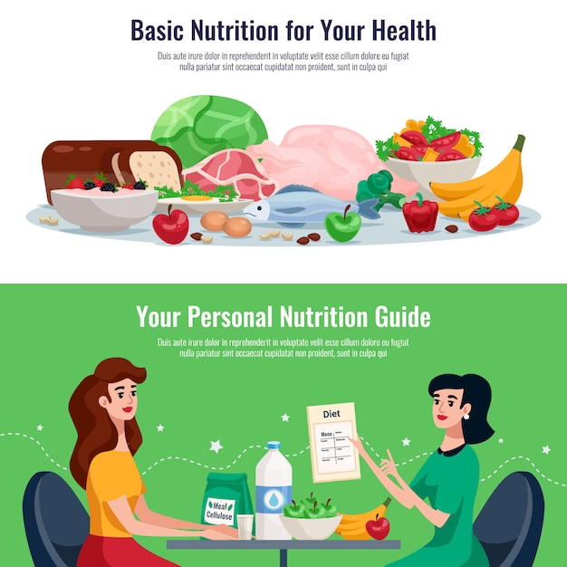 Diet horizontal banners with basic nutrition for good health and personal nutrition guide cartoon Free Vector