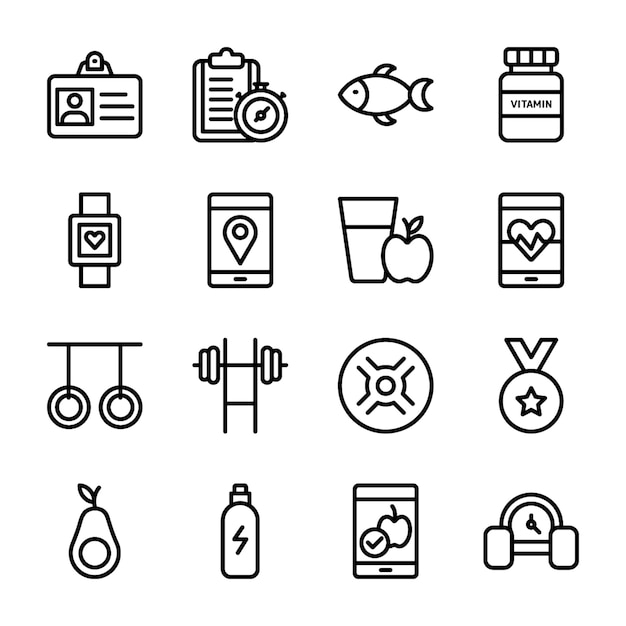 Diet plan, sports supplement, nutritions icons collection Premium Vector