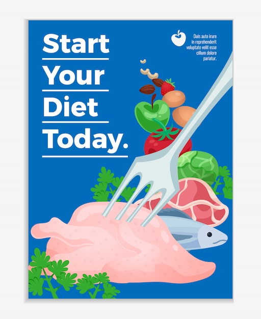 Diet poster with raw meat products and vegetables and text start your diet today cartoon illustration Free Vector