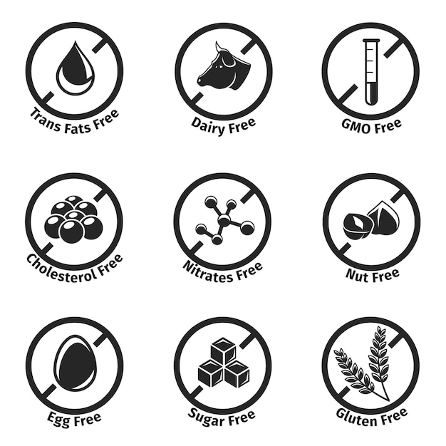 Dietary labels set. Free Vector