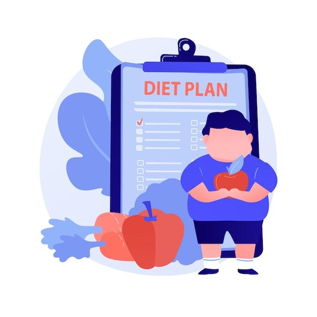 다이어트. 과체중 남자 만화 캐릭터 햄버거와 정크 푸드 대신 사과와 당근을 먹는. 체중 감량, 영양, 균형 잡힌 식단. 벡터 격리 된 개념은 유 그림 무료 벡터