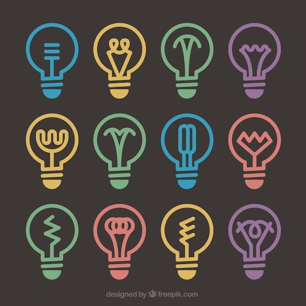 Diferents lightbulb designs Free Vector