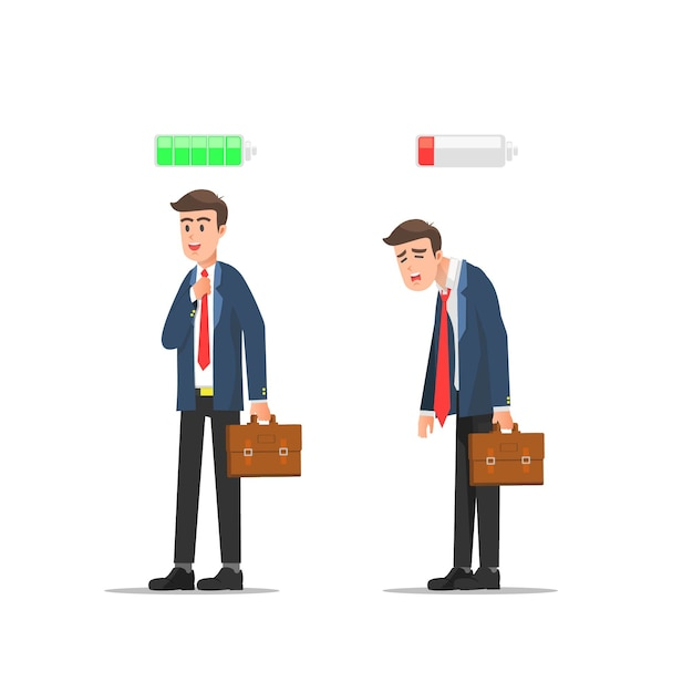 Разница в мужчине между энтузиазмом и усталостью Premium векторы