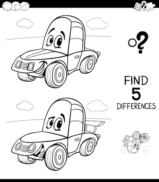 Differences game for children with cartoon car Premium Vector