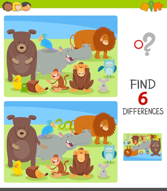 Differences game for kids with animal characters Premium Vector