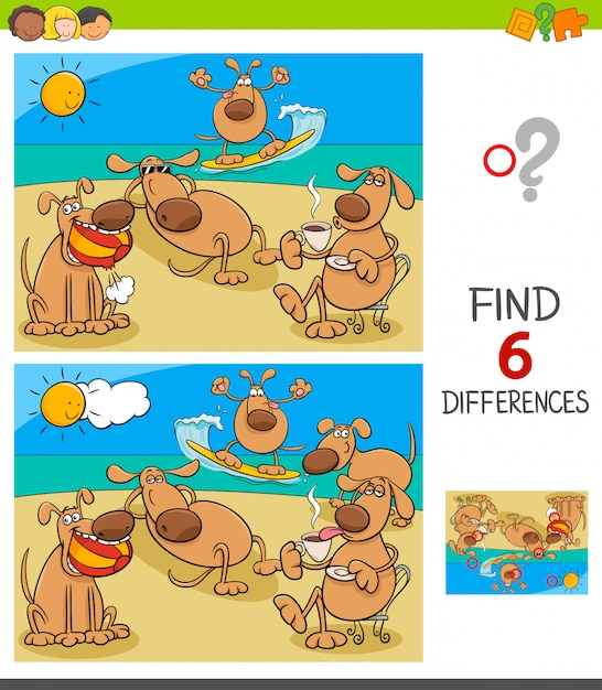 Differences game with dogs on holiday vacation Vector ...