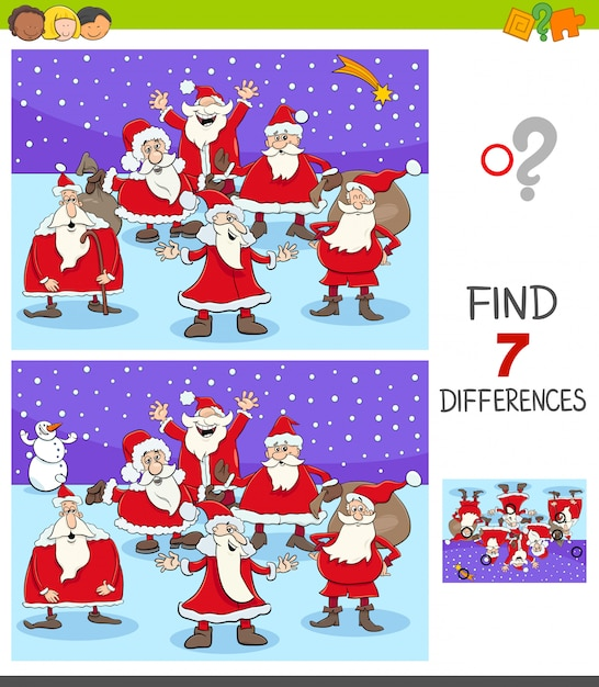 Differences game with santa claus characters Premium Vector