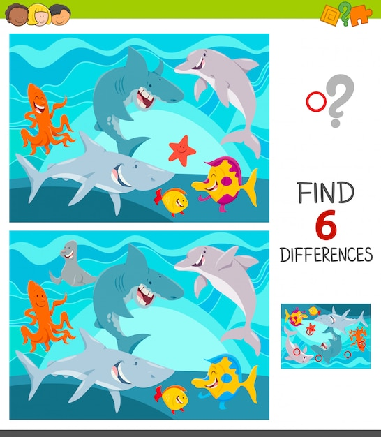 Differences between pictures educational game Premium Vector