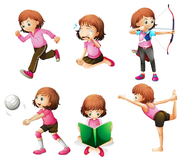 Different activities of a little lady Free Vector