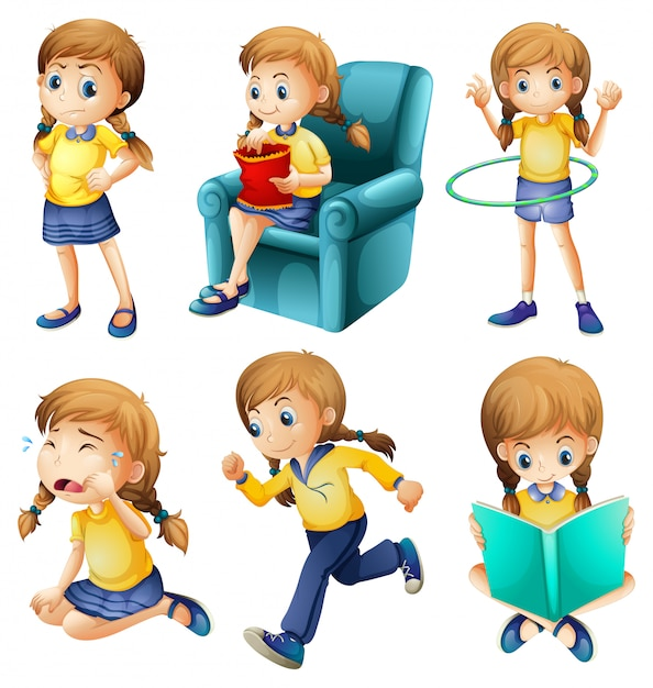 Different activities of a young girl Free Vector