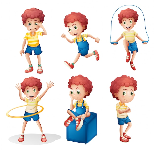 Different activities of a young man Free Vector