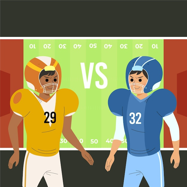 Different american football players in front of the field Premium Vector