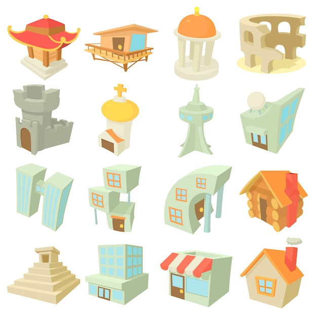 Different architecture icons set Premium Vector