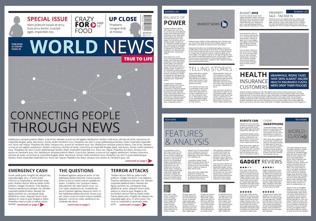 Different articles in newspaper. Premium Vector