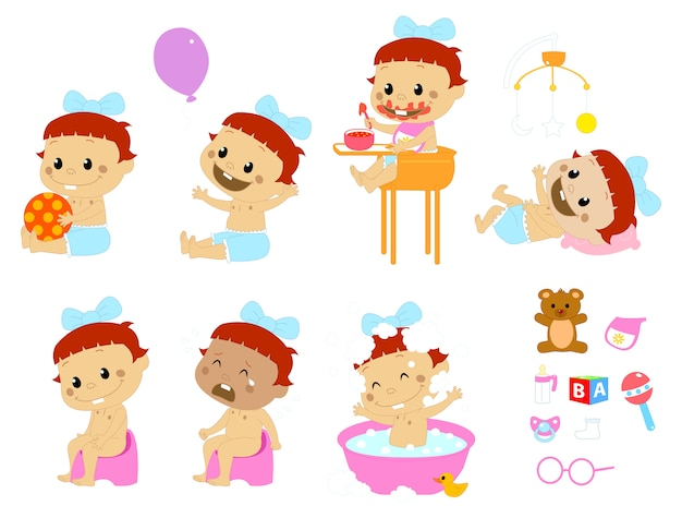 Different baby poses and accesories Premium Vector