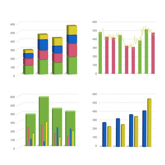 白い背景で隔離の異なる棒グラフグラフ 無料ベクター