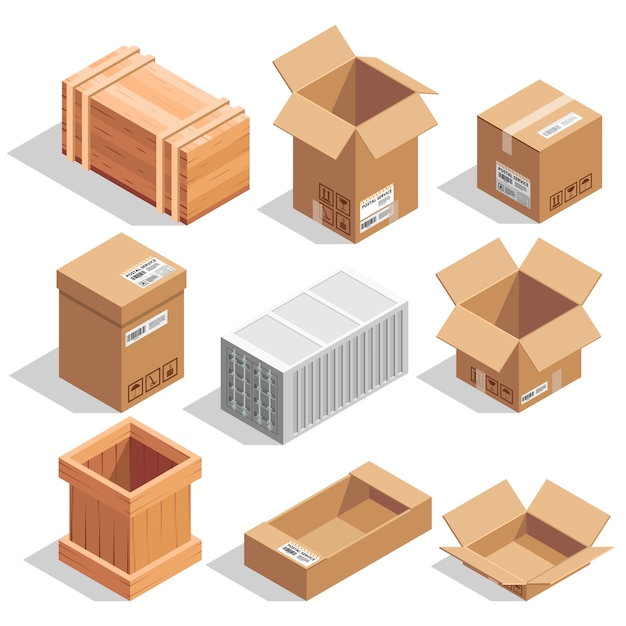 Different big delivery packages. warehouse or shipping closed and opening boxes. Premium Vector