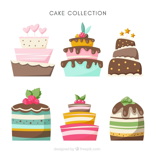 Different birthday cakes Free Vector