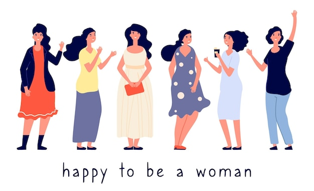 Разные типы телосложения. различные женщины векторные иллюстрации. положительная концепция тела, счастливые женщины плоские персонажи. крупные, полненькие, стройные девушки. разнообразие иллюстраций жирный, лишний вес довольно позитивный Premium векторы