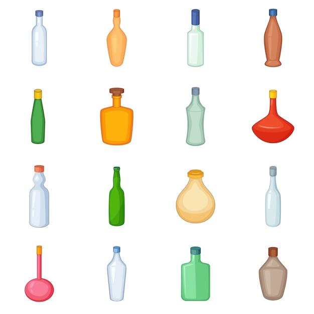Different bottles icons set Premium Vector