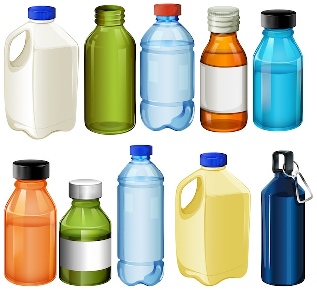 Different bottles Premium Vector