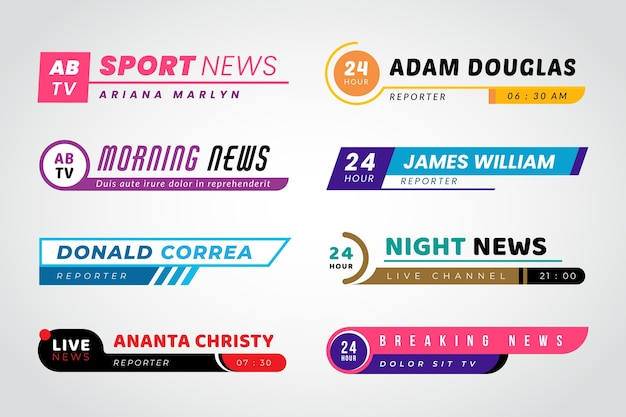 Different broadcast steaming breaking news Free Vector