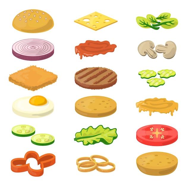 Different burgers ingredients in cartoon style Premium Vector